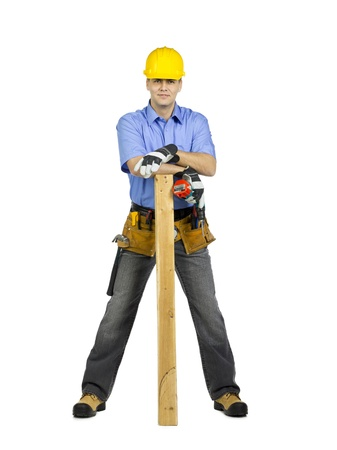 2x4 wood: Standing construction man on white