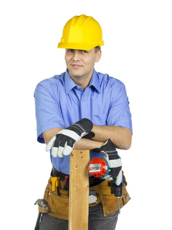 Construction worker with a carpentry tool Stock Photo - 17368468