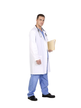 Professional doctor holding a clipboard and stethoscope in a side view image Stock Photo - 17368430