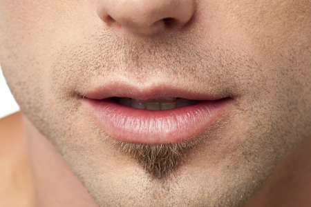 Close up image of human male lips Banco de Imagens