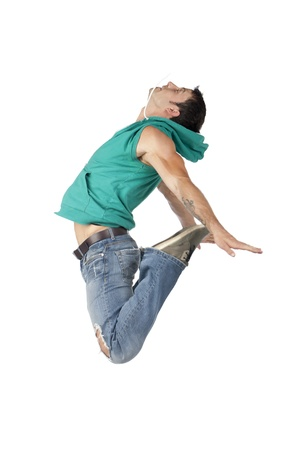 casual hooded top: Side view image of male dancer jumping on a white surface