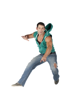 hooded vest: Portrait of male gesturing dance move against white background Stock Photo