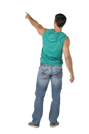 sleeveless hoodie: Back view of man pointing in casual hooded top rear view