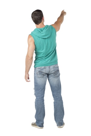 sleeveless hoodie: Rear view of a man pointing at something