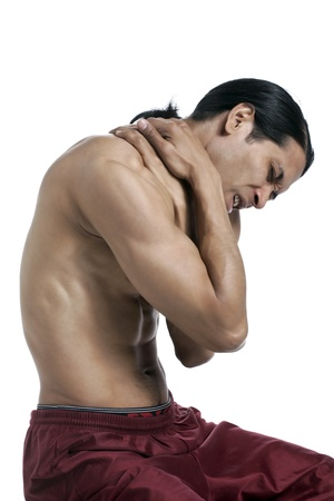 old man on a physical pressure: Close-up image of a man suffering from back pain isolated on a white surface