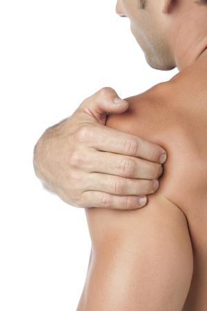 emotional pain: Retrato de un hombre que sufre de dolor en el hombro Foto de archivo