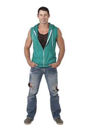 hooded vest: Masculine man with hands on his pocket while looking at the camera Stock Photo