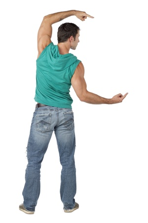 sleeveless hoodie: Image of muscular dancer pointing to the side against the white background