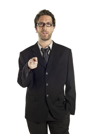 Portrait of a mid aged businessman pointing in front Stock Photo