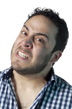 Close up image of angry face of a  guy against white background Stock Photo - 17377428