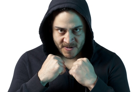 Close up image of angry guy clenched his fist against white background Stock Photo - 17377390