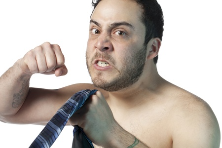 Image of angry man attempting to punch against white background Stock Photo - 17377384