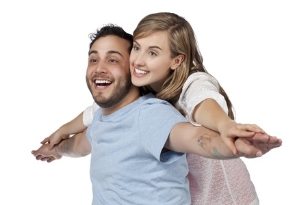 A sweet bonding of a husband and wife over the white background Stock Photo - 17377057
