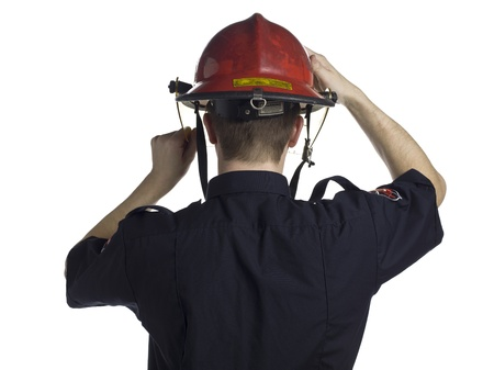 taker: Back view image of a fireman wearing helmet on a white background