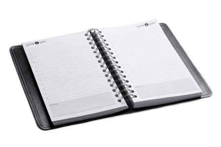 A horizontal image of a blank open notebook isolated on Stock Photo