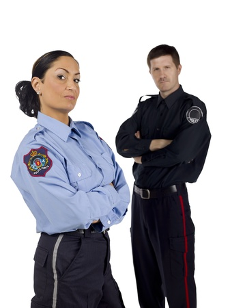 Brave police officers standing over a white background Stock Photo - 17377046