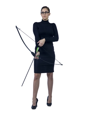 Full length image of a businesswoman holding a bow