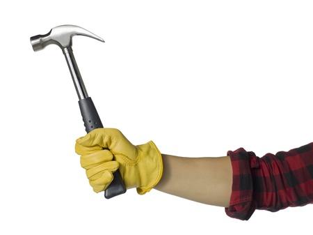 hummer: Close up image of carpenter holding hummer against white background