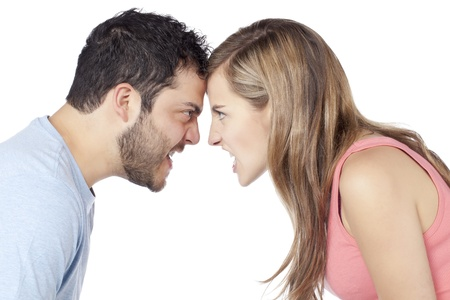 girl fight: Image of angry couple yelling to each other against white background Stock Photo