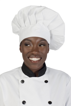 half body: Half body portrait of a smiling female chef looking to the right
