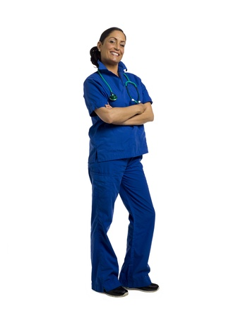 Successful female physician standing over a white background Stock Photo - 17378386