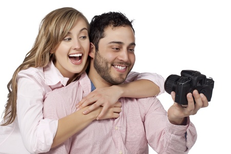mate married: Image of a happy couple posing at a camera