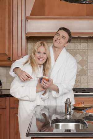 Image of romantic couple having breakfast in the kitchen Stock Photo - 17400503