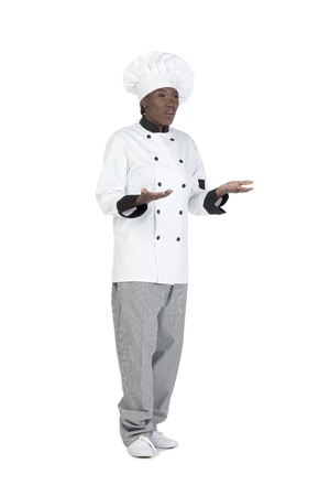 hesitancy: Full length image of an African chef shrugging her hands