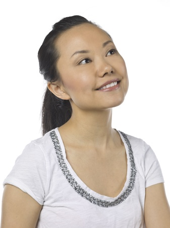 Portrait of a dreamy asian woman looking up
