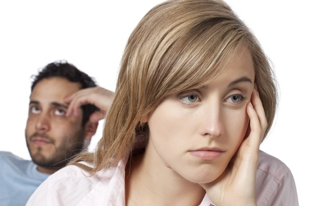 impotence: Sad couple mad at each other Stock Photo