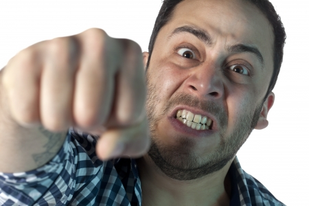 Close up image of a mad man on a smash gesture Stock Photo - 17377421