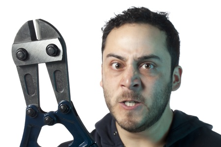 cutter: Image of mad man holding bolt cutter against white background