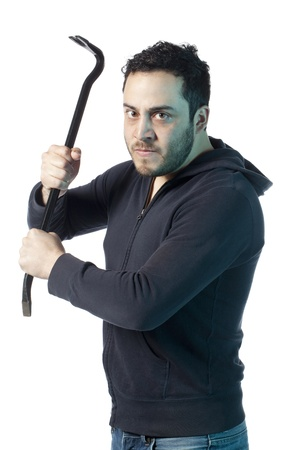 Image of mad man holding crow bar against white background