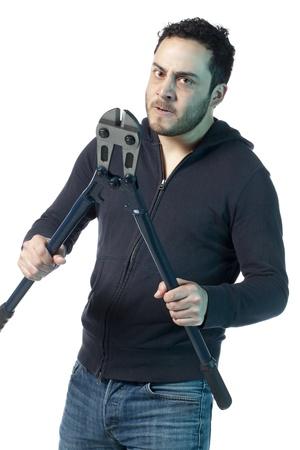 cutter: Portrait image of a mad man holding a bolt cutter