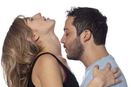 Portrait of handsome man with close eyes, trying to kiss womans neck