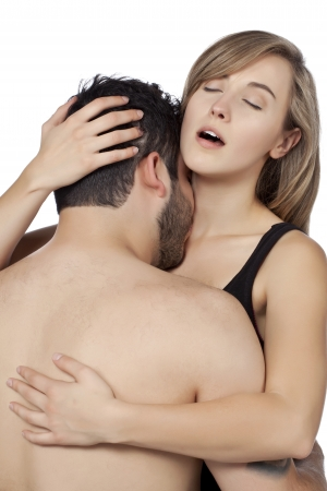 Sexy passion of a young adult couple photo