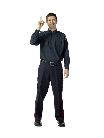 Portrait of policeman having an idea against white background Stock Photo - 17378407