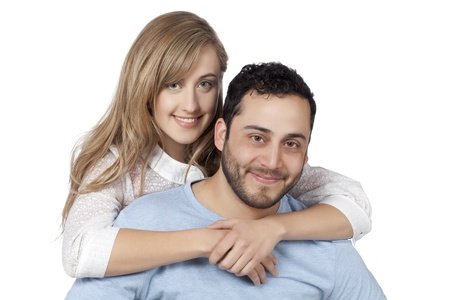 Close up image of sweet couple smiling photo