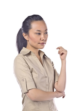 Portrait of pensive asian woman over a white background