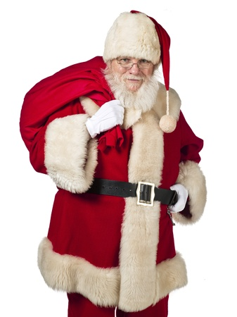 Portrait image of Father Santa carrying gift bag on shoulders. Model: Larry Lantz Stock Photo - 17390855