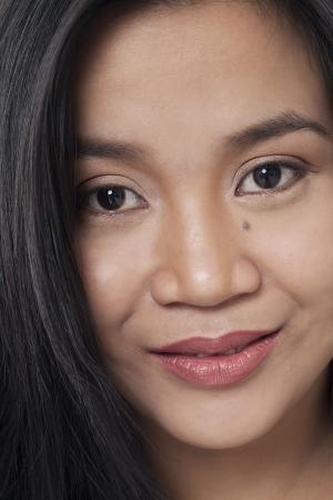 pinoy: Close-up portrait shot of attractive young female. Model: Rachelle Vinluan Stock Photo