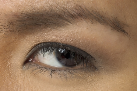 pinay: Macro photograph of a womans eye with elegant makeup Stock Photo