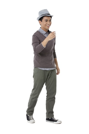 pinoy: Portrait of asian teenager guy over the white background