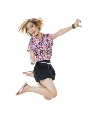 pinay: Image of a happy lady jumping over the white background