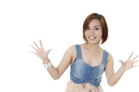 pinay: Close-up image of a joyful beautiful lady wearing a casual wear with open palm