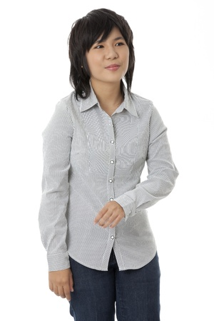 pinay: A close-up portrait of a cheerful lady wearing a long-sleeve blouse on a white background