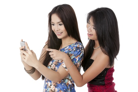 Image of a cheerful women smiling over a funny message isolated on Stock Photo