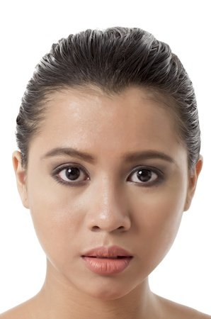 pinay: Close-up image of a beautiful womans face on a white background Stock Photo