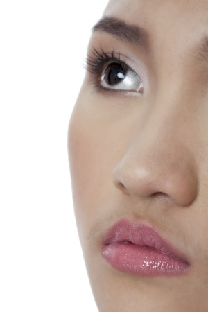 pinay: Cropped image of female face against white background