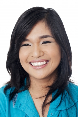 pinoy: Portrait of a cute young Asian woman smiling. Model: Joanna Marie Nacino Stock Photo